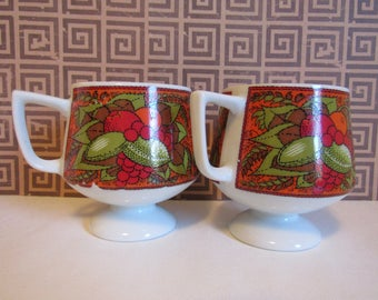 Vintage Kitchen Coffee Mugs Set Of Two Orange Red Green Retro Coffee Cups  Fruit Decor Gifts