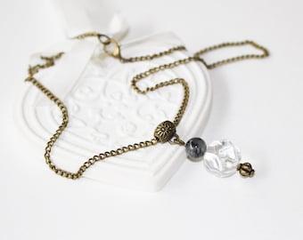 Necklace, pendant, crystal quartz, tourmaline, protection and harmony