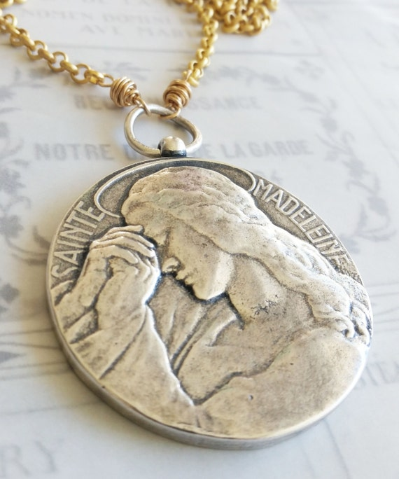 Necklace saint mary magdalene sterling silver over brass mozeypictures Choice Image