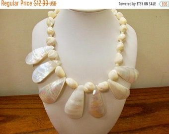 On Sale Vintage Polished Natural Mother of Pearl Necklace Item K # 2950