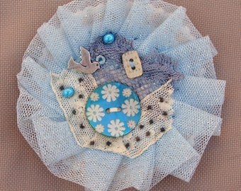 Blue sky and Dove lace tulle brooch