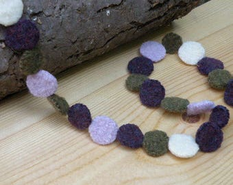Felted Wool Fabric Garland, Hand Knit Circles Garland, Calm Colors, Dots Bunting, Three Feet: Purple, White, Light Purple, Olive Green