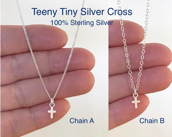 Tiny Silver Cross Necklace, Sterling Silver, Dainty, Delicate, Small, Simple, Minimalist, Layering, Religious, Baptism Gift, First Communion
