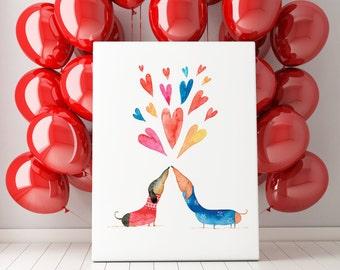 Dachshund Lovers Art Print | Dogs Wall Art | 8x10 Illustration | Kid's Room Decor