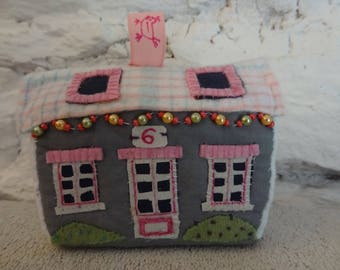 Small house, village house, cottage foam rubber and textile, miniature house, toy or decoration.