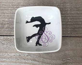 Monogrammed Jewelry Dish, Ring Dish, Personalized Ring Dish, Gifts for Ice Skater, Skating Teacher Gifts, Ice Skater Gifts, Ice Skater