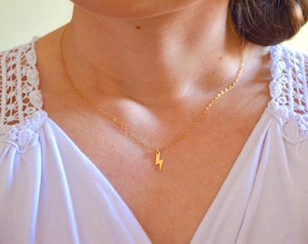 Gold lightning necklace, Lightning necklace, Lightning bolt necklace, Thunderbolt necklace, Gold thunderbolt necklace, Gold flash necklace