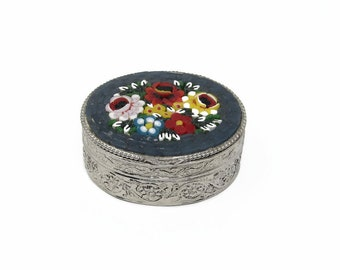 Vintage Micro Mosaic Flower Pill Box Excellent Condition