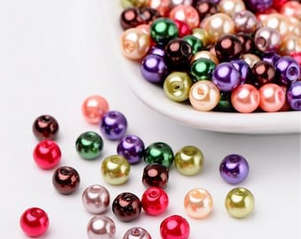 lot 50 PC wood beads, glass Pearl multicolor primer jewelry 6 mm new