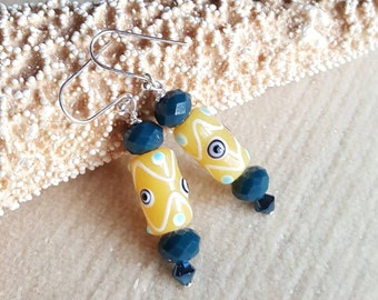 Vintage Yellow Czech Glass Lampwork Beaded Earrings! Handcrafted with Sterling Silver and sparkling blue crystals!