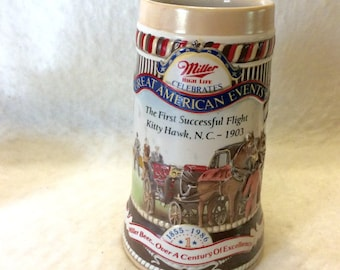 Miller High Life vintage beer stein Great American Events Kitty Hawk. 1986 numbered. Free ship