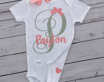 Initial bodysuit, Custom bodysuit, newborn girl clothes, baby shower, baby girl, baby name outfit, glitter baby