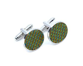 Yumi Collection-Cufflinks silver/gold-dark green