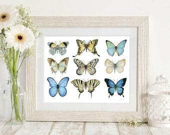 Blue Butterflies Print - Junk Gypsy Decor - Nature Lover Gift - Butterfly Wings - Butterfly Wall Art - boho chic wall deco - Dormroom art