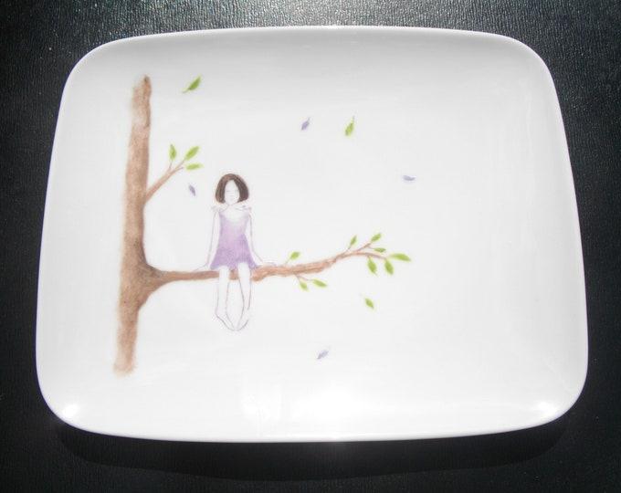plate dessert/porcelain / modern / handpainted / poetic