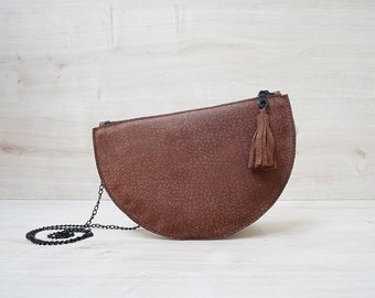 crossbody bag, clutch bag, leather clutch, copper clutch, convertible clutch, gift for her, halfmoon, moon, removable shoulder strap