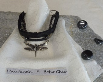 Handmade Boho Styled Black Leather Dragonfly Bracelet