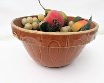 Antique Crock Bowl   Yellowware Bowl   Large Stoneware Bowl   Orange Pottery Mixing Bowl   USA Pottery Bowl   Farmhouse Ironstone Bowl