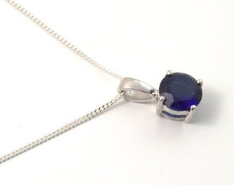 1ct Solitaire 4 Claw Sapphire Pendant set in Sterling Silver, September Birthstone
