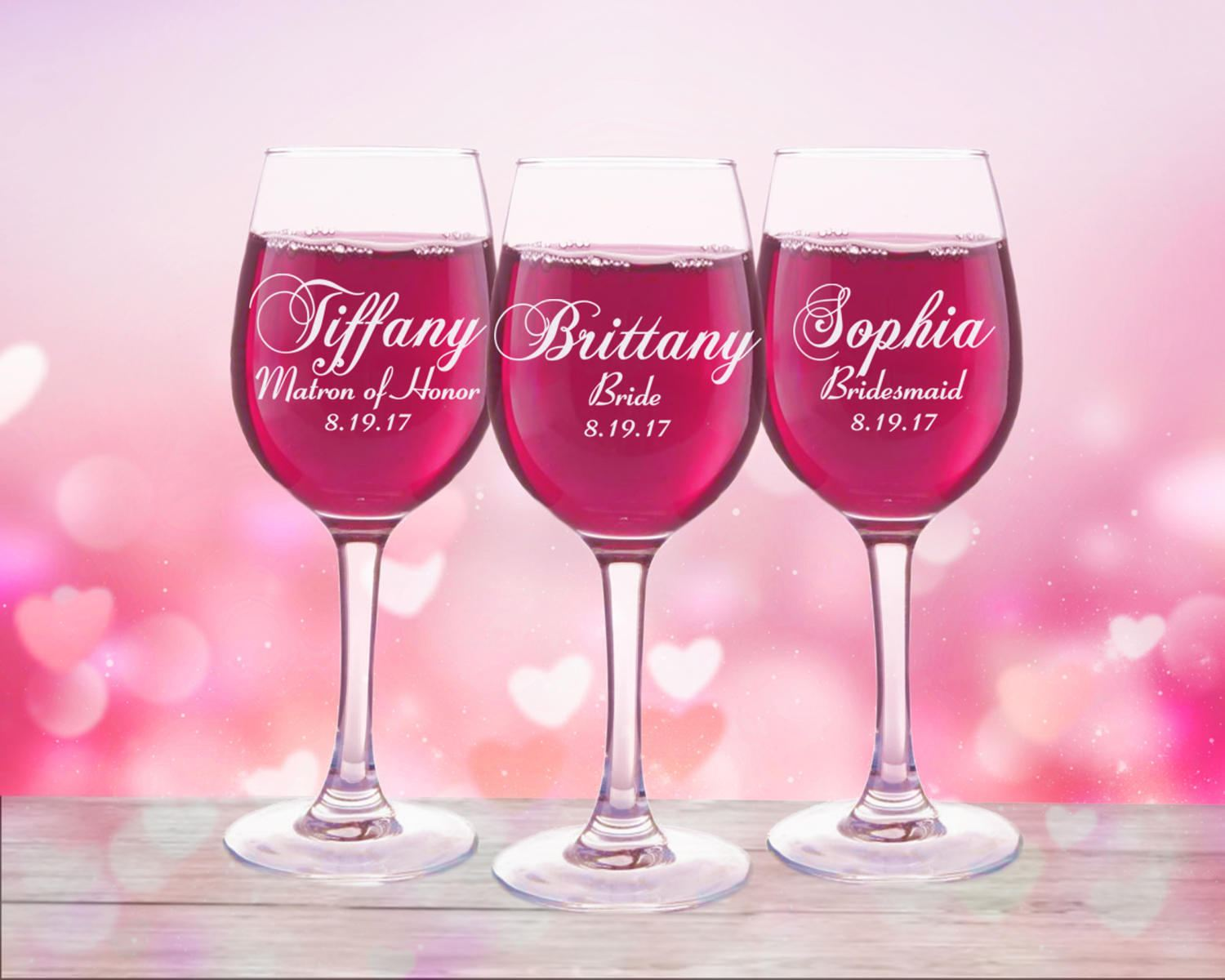 Painted Champagne Glasses Bridesmaid
