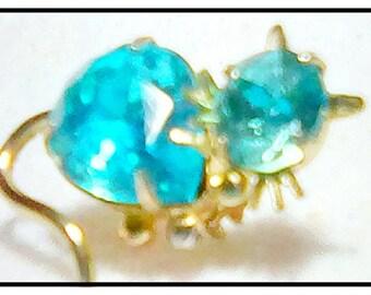 Vintage Blue Rhinestone Kitty Cat Pin Juliana Style