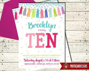 Tween Birthday Invitation, Teen Birthday Invitation, Birthday Party, Birthday, Party, Tassel, Card, Printable, Digital, Print file, invite