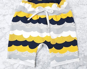 Good Weather childrens shorts - Yellow, navy and grey shorts - Baby shorts - toddler shorts - boys shorts - girls shorts