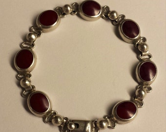 Sterling Silver .925 Bracelet With Red Stones