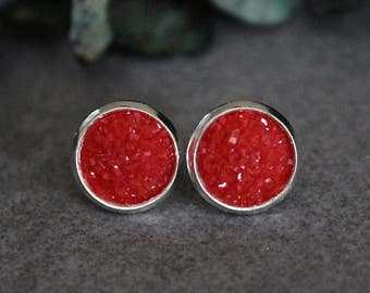 Red Stud Earrings, Red Earrings, Red Druzy Earrings, Red Post Earrings, Red Bridesmaid Earrings, Bridesmaid Gift, Gift for Her, Red Studs