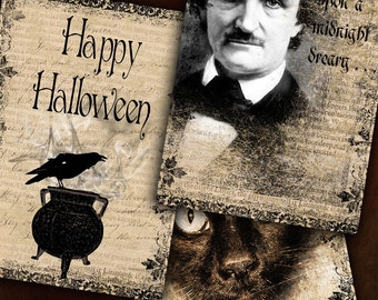Halloween Tags - Edgar Allan Poe - Instant Download - Raven - Black Cat - Spooky Digital Grunge  3.5 x 5 Inches - Printable