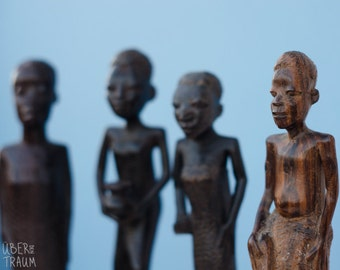 African Wooden Carvings of People - 1970's Zambian Art - vintage handmade art