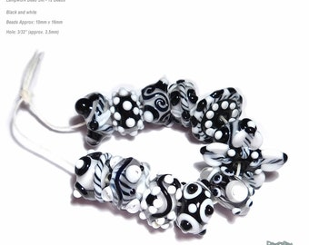 METRO CHA CHA  Handmade Lampwork Bead Set in Cool Black White Clear Set of 12
