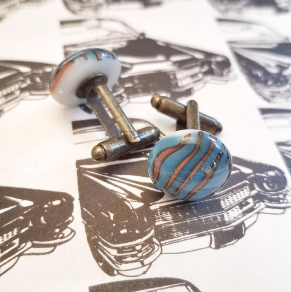 Orange and Blue Striped Glass Cufflinks