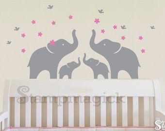 Elephants Wall Decal - Baby Elephant Vinyl Wall Decal for nursery - Wall Decor Graphics Sticker - K172