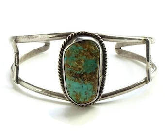 Southwestern Natural Turquoise Stone Cuff Bracelet in Sterling Silver