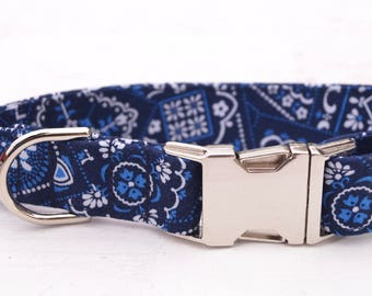 Navy Dog Collar - Boy Dog Collar - Summer Dog Collar - Male Dog collar - Girl Dog Collar - Unique Dog Collars - Fabric Dog Collar