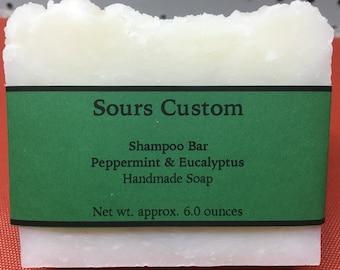 Shampoo Bar, Peppermint, Eucalyptus, Normal Hair, Dry Hair, Dandruff, Natural Hair Care, Coconut Oil Shampoo