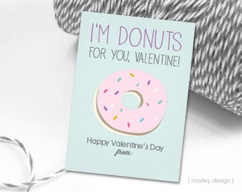 Donuts Valentines Cards Kids Valentines Printable Digital Download Instant Download DIY Donut Valentines Card Classroom Cards Donuts for You
