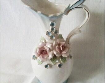 Vintage Porcelain Vase Pearl and Roses