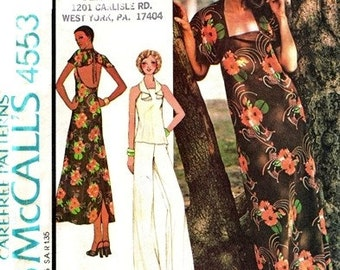 McCall's 4553 Fascinating Dress or Top & Pants 1975 / SZ10 UNCUT