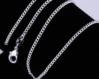 "925 Silver Filled 2MM Chain Necklace For Pendants 16""18"" 20"" 22"" 24"""