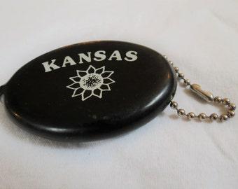 State of Kansas Vintage Souvenir Change Purse Key Chain Black with Sunflower