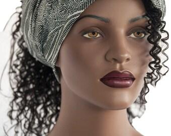 Wide Hair Headband Wide Floral Motif Black White Headband Head Band Jersey Knit Womens Headband Dreadlock Headband Handmade