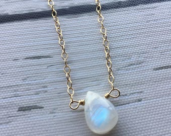 Rainbow moonstone necklace, 14k gold filled necklace