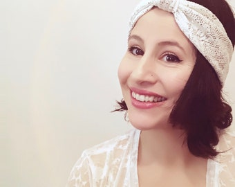 Silver and White Knotted Turban Headband, Print Fabric.