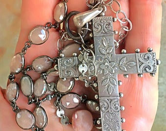 Antique aesthetic period sterling cross assemblage necklace long flapper style