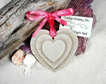 TRIPLE HEART Made with Sand Ornament