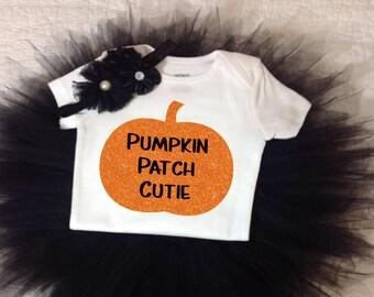 Baby Halloween Tutu Set, Baby's First Halloween, Cutest Pumpkin In The Patch Shirt, Black Tutu and Halloween Shirt, Baby Halloween Outfit