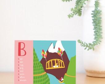 Alphabet card -B- Greetingcard - Birthdaycard - Birth card - Geboortekaartje