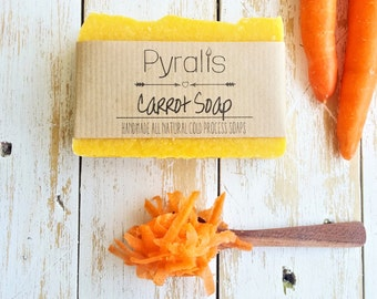 Carrot Organic Soap, Organic Soap, Cold Process Soap, Carrot Soap, Vegan Soap, Natural Soap, Unscented Soap, Fragrance Free Soap, Palm Free
